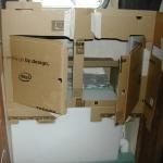 Cardboard mockup of the cabinets