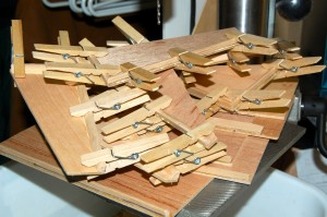 Nothing like using a few clothes pins for wood working...
