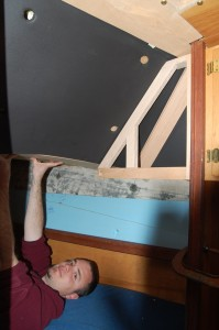 Jed checking the starboard cabinet frame fit